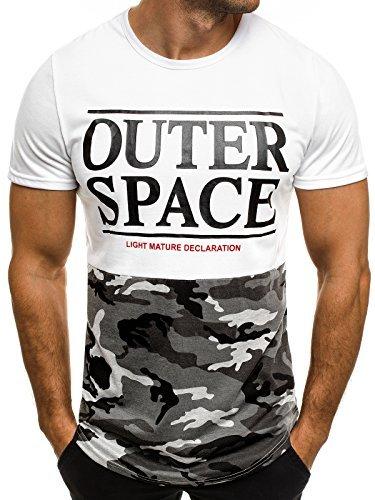 OZONEE Herren T-Shirt mit Motiv Kurzarm Rundhals Figurbetont J.STYLE SS029 Weiß_J.STYLE-SS120
