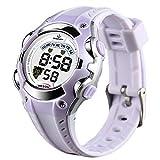 XREXS Kinder und Jugendliche Armbanduhr Kinder Digital Chronograph mit Plastik Armband Wasserdicht B-328 (Leichter Lavendel)