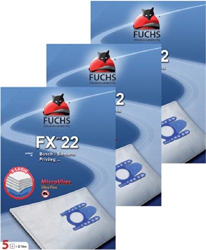 Preisvergleich Produktbild 3 Pakete FXpro 22: 15 Staubsaugerbeutel, 3 Luftfilter, 3 Motorfilter für Bosch / Siemens VS 06G2410, Synchropower, Dino,Super XS Dino, Typ D E F G, Original Gr. 51 AFG / 1, 52 AFEFD, Super XS, Super XXS, VS10000 ... 10999
