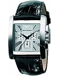 Emporio Armani AR0186 - Reloj cronógrafo de cuarzo para hombre con correa de piel, color negro