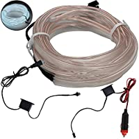 shunyang EL Wire Neon Lights For Cars Interior Cold Wire LED Lights DIY Decoration Strip Lights Neon LED Light Glow EL Wire String Strip Rope Tube White 5M 197 Inches 1Pcs