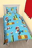 Nintendo Set comprensivo di Copripiumino Singolo con Motivo Mario MakerRotary, in Poliestere, Multicolore