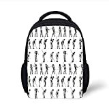 Kids School Backpack Golf,Golf Swing Shown in Fourteen Stages Sports Hobby Themed Sketch Art Storyboard Print Decorative,Black White Plain Bookbag Travel Daypack...