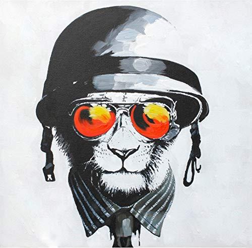 YHXIAOBAOZI Handgemaltes Ölgemälde,100% Reine Hand Bemalt Sonnenbrille Und Black Lion Moderner Pop Canvas Wall Art Dekor Für Wohnzimmer Eingang Home Dekoration 80 × 80 cm