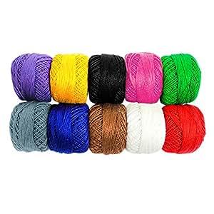 Lot de 10 Bobines de fil en Coton pour Crochet par Kurtzy - Assortiment de Couleurs Unies - Fil pour Tricot, Ornements et Différents Projets - 5 Grammes - 47 Mètres de Fils - Haute Qualité