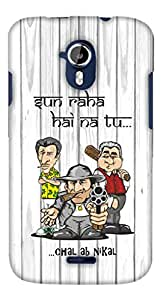 PrintHaat Designer Back Case Cover for Micromax Canvas Magnus A117 :: Micromax A117 Canvas Magnus (a soft drink can with water drops in silver :: love cold drink) (mighty people with a gun and bat :: sun raha hai na tu … chal ab nikal funny quote :: black and white wooden background :: angry men :: dangerous people :: don't mess with us :: in yellow, black, brown and red)