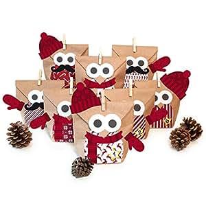 pajoma adventskalender zum bef llen weihnachtseule mit extras 2018 bastelset eule owl diy 24. Black Bedroom Furniture Sets. Home Design Ideas