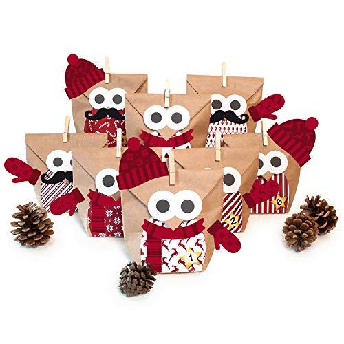 (Pajoma Adventskalender Zum Befüllen Weihnachtseule Mit Extras 2018 Bastelset Eule Owl DIY, 24 Beutel Kraftpapier Tüten 14x22cm (Rot mit Extras))