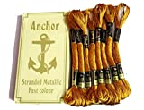 #6: Anchor Cross Stich/ Long Stich Embroidery Golden metallic threads (101), pack of 8 , 8 Mt Each Skeins