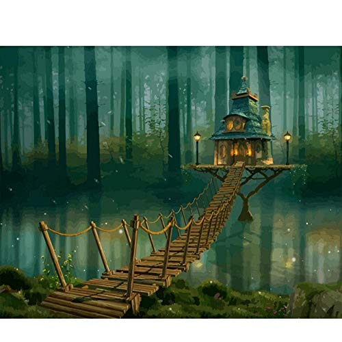 Guyuell DIY ölgemälde bild Diy Malen Nach Zahlen Kit Landschaft Haus Acryl Malen Nach Zahlen Für Erwachsene Handbemalte Diy Malerei Kunst-40 * 50Cm,With Frame