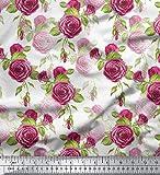 Soimoi Weiß Baumwolljersey Stoff Blätter & Austin Rose