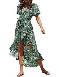 7cd15b728af Weant Femme Robe Chic Robe Femme Ete Robe de Plage Femme Robe Col V Floral  Imprimé