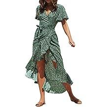 82e959f31 Vestido Verano Mujer Casual Playa Fiesta Moda Sexy Manga Corta con Cuello  En V Volantes Estampado