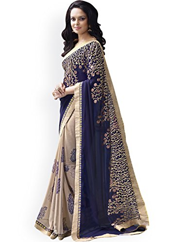 Roshni Fashions Georgette Saree With Blouse Piece(blue beauty)