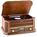 Auna Belle Epoque 1908 • Design retrò • giradischii • Stereo • Radio Digitale • Dab+ • Lettore di Dischi • Radio FM • Bluetooth • Lettore CD • MP3 • Funzione RDS • Cassetta • USB • Marrone