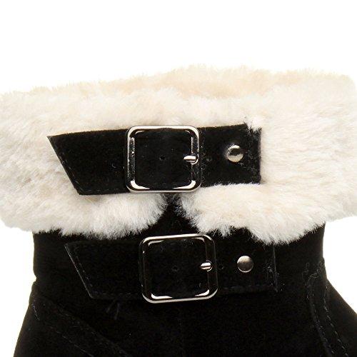 Damen Mittelkeilabsatz Pelz Kragen Reißverschluss Halbstiefel Stiefeletten Größe Schwarz