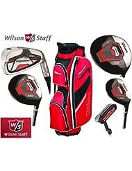 Wilson Prostaff manches en graphite HDX Fers et manches en graphite HDX bois Super Deluxe Set & Prostaff Club de golf complet pour homme Rouge/noir/blanc/chariot sac de golf pour homme droitier (édition limitée, uniquement Disponible de la Ranger 4U Ltd)