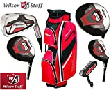 Wilson Prostaff Graphite Shafted HDX Irons & Graphite Shafted HDX Woods Super Deluxe Mens Complete Golf Club Set & Prostaff Red/Black/White Cart Bag Mens Right Hand (Limited Edition, Only available from The Golf Store 4u Ltd)