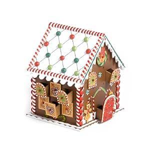 Maison en bois multicolore comme calendrier avent