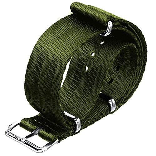 Uhrenarmband ZULUDIVER Nylon NATO Armeegrün, Poliert, 20mm