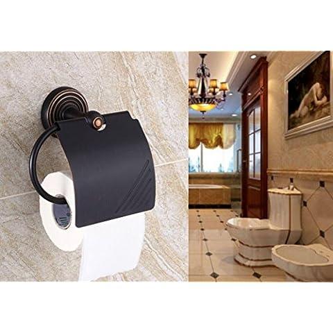 YanCui@ Porta carta igienica Colazione continentale in ottone antico asciugamano rack bagno carta igienica titolare carta igienica scatola nera