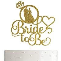 ‏‪Gold Glitter Bride to Be Cake Topper, Bachelorette Party Decoration, Cake Topper Bridal Shower‬‏