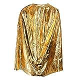 MagiDeal Capa Largo de Metálica Accesorio de Disfraces para Niños Niñas Decoración de Halloween Bruja Fiesta de Carnaval Atrezo Vestuario - Dorado