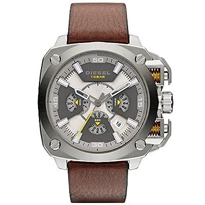 Diesel Bamf-Reloj con mecanismo de cuarzo para hombre multicolor esfera analógica pantalla y pulsera de piel marrón Dz7343