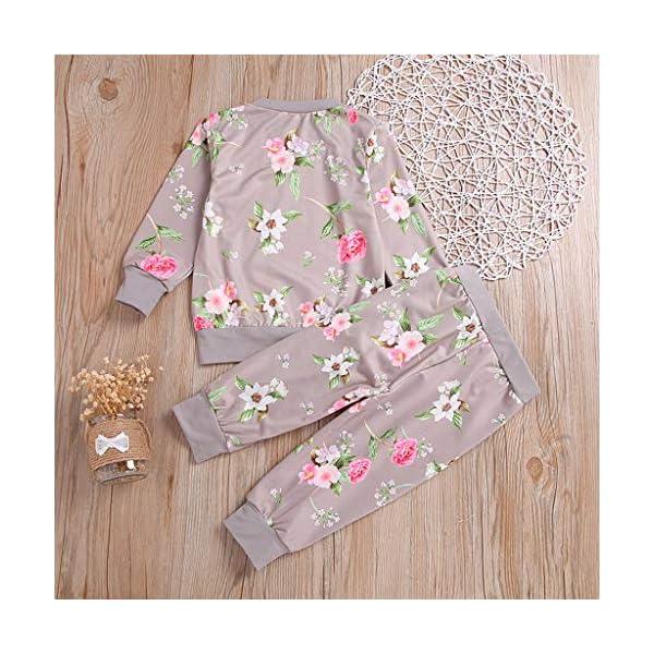 Heetey - Top para niña de Manga Larga, Estampado de Flores, Sudadera, pantalón, Lazo, Sudadera, Vestido de Fiesta, Boda… 4