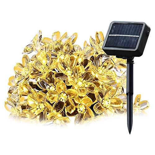 Salcar catene luminose led 5 metri solare catena leggera include 20 fiore di ciliegio illuminazione decorativa per le celebrazioni della festa di natale (bianco caldo)