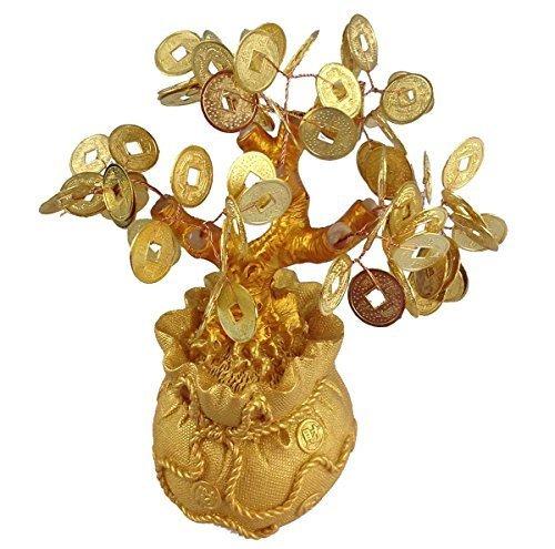Gmmh feng shui albero dei soldi fortunato bonsai oro 17 centimetri albero di centesimo a mano di pietra