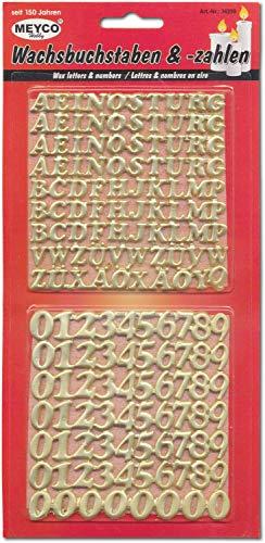 Meyercordt GmbH 158-tlg. Wachszahlen und Buchstaben Set Kerzen basteln selbstklebend Taufe Kirche Hochzeit in Gold oder Silber Gold