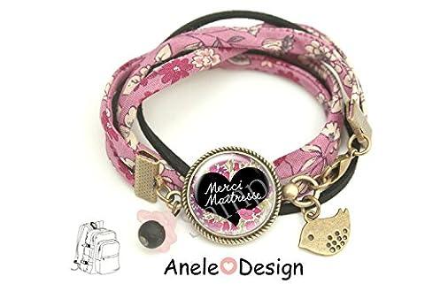 Bracelet Cadeau pour la maîtresse - Merci Maîtresse! - fleurs liberty oiseau École idée cadeau fin