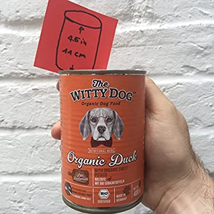 The Witty Dog 100% Organic Wet Dog Food, Complete Menu: Duck With Pumpkin, Tins 6x400 Gr. (Puppy, Adult, Senior Dogs) 7
