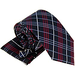Estilos de tartán de cuadros escoceses de los hombres de corbata Necktie W/bolsillo cuadrado & gemelos Set de regalo negro Charcoal Black Talla única
