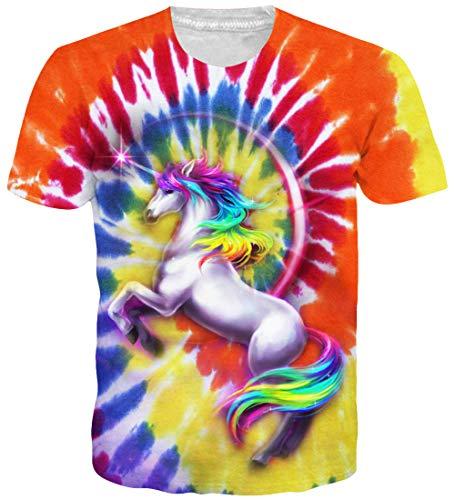 73b23eef655520 Loveternal Unicorn T-Shirt 3D-Muster Gedruckt Lässig Grafik Sommer Kurzarm  Top Tees für