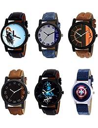 NIKOLA Contemporary 3D Design Mahadev Captain America Black Blue And Brown Color 6 Watch Combo (B22-B40-B17-B36...