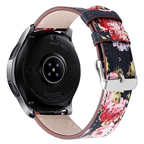 Denver Leder Gürtel (Knowin Uhrenarmband Schnellverschluss Uhrenarmbänder Leder mit Kegel Schnalle, Ersatzband Unisex Drucken Runder Gürtel Neues Lederband-Armband-Uhrenarmband für Samsung Watch 46mm)