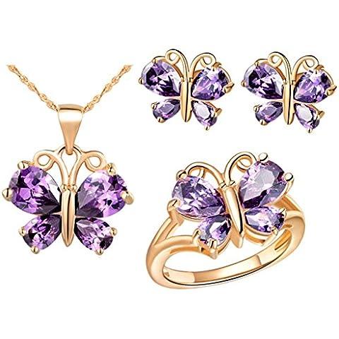 AnaZoz Joyería de Moda Simple Personalidad Chapado en Oro Rosa Juegos de Joyas Para Mujer (Collar Pendiente Anillo Juegos de Joyas) Mariposa Púrpura Cristal Amatista