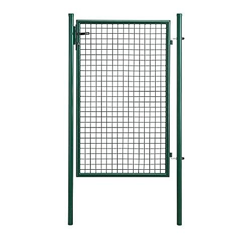 [pro.tec] Gartentor verzinkt (200x106cm) grün - inklusive Schloss und 3 Schlüsseln - Gartenpforte