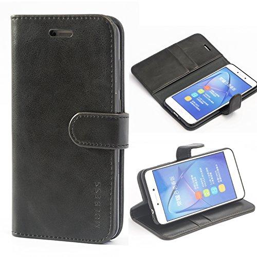Mulbess Ledertasche im Ständer Book Case / Kartenfach für Huawei P8 Lite (2017) Tasche Hülle Leder Etui,Schwarz (nicht für das P8 Lite Smart und P8 Lite 2015 5.0 Zoll)