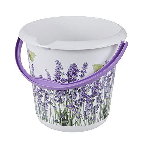 keeeper Eimer mit integrierter Mess-Skala und ergonomischem Griff, Blumendekor, 10 l, Lavender, Weiß 10 Skala