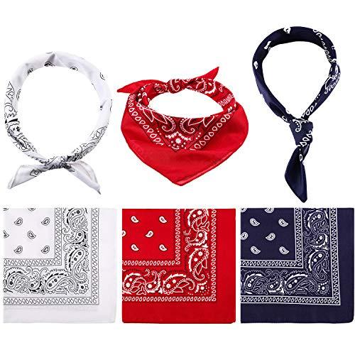 6 Piezas de Bandana de Paisley Pañuelo de Vaquero Envoltura de Cabeza Impresa de Unisex Banda de Pulsera para Adultos y Niños (Rojo, Azul Marino y Blanco)