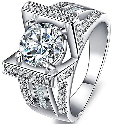 SaySure 18K White Gold Plated Luxury Anniversary Wedding & Engagement Ring