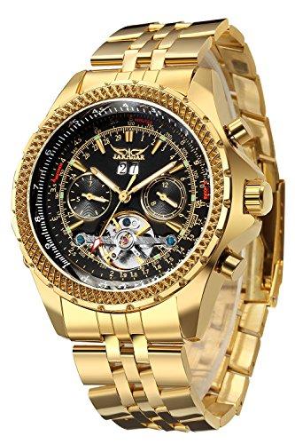GuTe Lujo hombres reloj de pulsera automático mecánico de Gold-tone Wind Esfera de color negro luminoso...