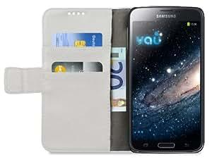 vau The Book weiss - ECHT-Leder Case, Etui-Tasche für Samsung Galaxy S5