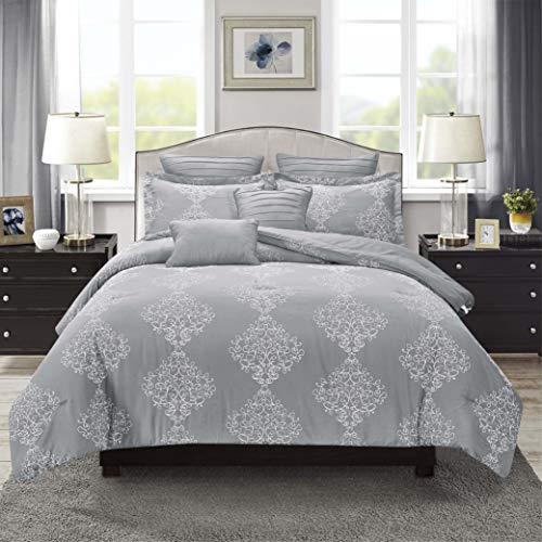 Sweet Home Collection Comforter Set 7 Piece Embroidered Decorative Printed Luxurious Bedding with Pleated Shams, Quilted Pillows, and Pillowcases Queen Porter Grey -