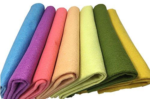 Fogli feltro colorato fogli in feltro e pannolenci 7 pz feltro acrilico di fogli diy tessuto in feltro acrilico feltro da cucire 45cm*45cm fornito con kit di fili colorati