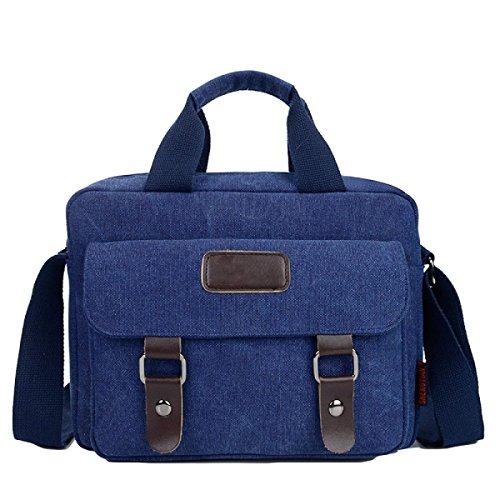 Männer Messenger Beiläufige Segeltuch-Rucksack-Schulter-Beutel-Aktenkoffer Großes Kapazitäts-Satz Blue