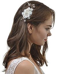 AWEI Fleur de Soie Peigne à Cheveux Décoratif en Perles Naturelles et Strass, Accessoires Cheveux Mariée pour Mariée et Demoiselles D'honneur